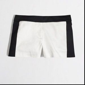 NWT! J Crew cream and black tuxedo shorts 2378